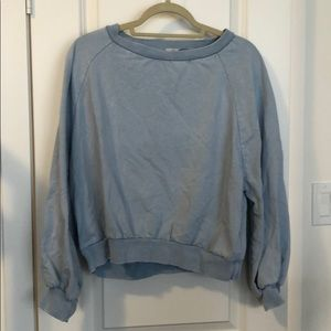 Light blue Cropped crew neck sweatshirt